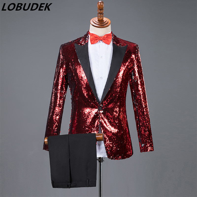 أحدث نمط مطرزة دعوى الأحمر الذهب الأسود الترتر الحلل مجموعات الرجال جوقة اللباس المرحلة الأداء الملابس المضيف المغني زي-في بدلة من ملابس الرجال على  مجموعة 1