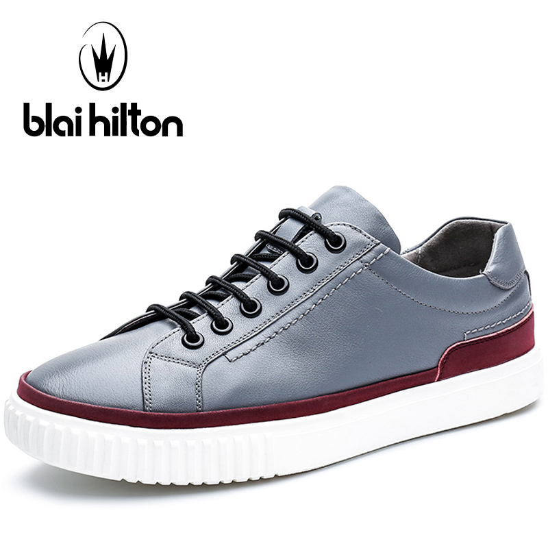 Blaibilton Lace Up Skateboard Shoes For Men Genuine Leather Men's Sneakers Summer Light Weight Breathable Sport Shoes Man Brand