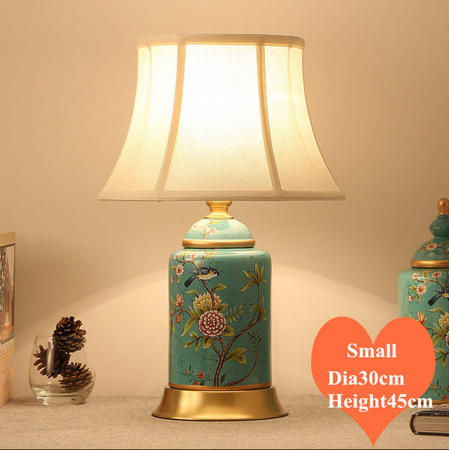 Online shop chinese rural blue flower bird ceramic small table lamps chinese rural blue flower bird ceramic small table lamps vintage fabric shade copper base e27 led lamp for bedsidefoyer mf041 aloadofball Images