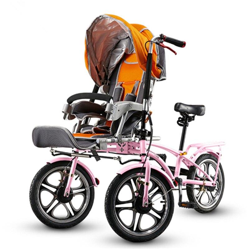 Mère et bébé doubles sièges Tricycles, poussette bébé pliante, voiture parentale, vélo poussette bébé, haute qualité, peut pousser ou monter