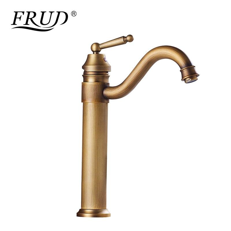FRUD robinet de bain cuivre Antique robinet rétro mitigeur robinet Arts comptoir bassin eau chaude et froide robinets coude sortie Torneira Y10064