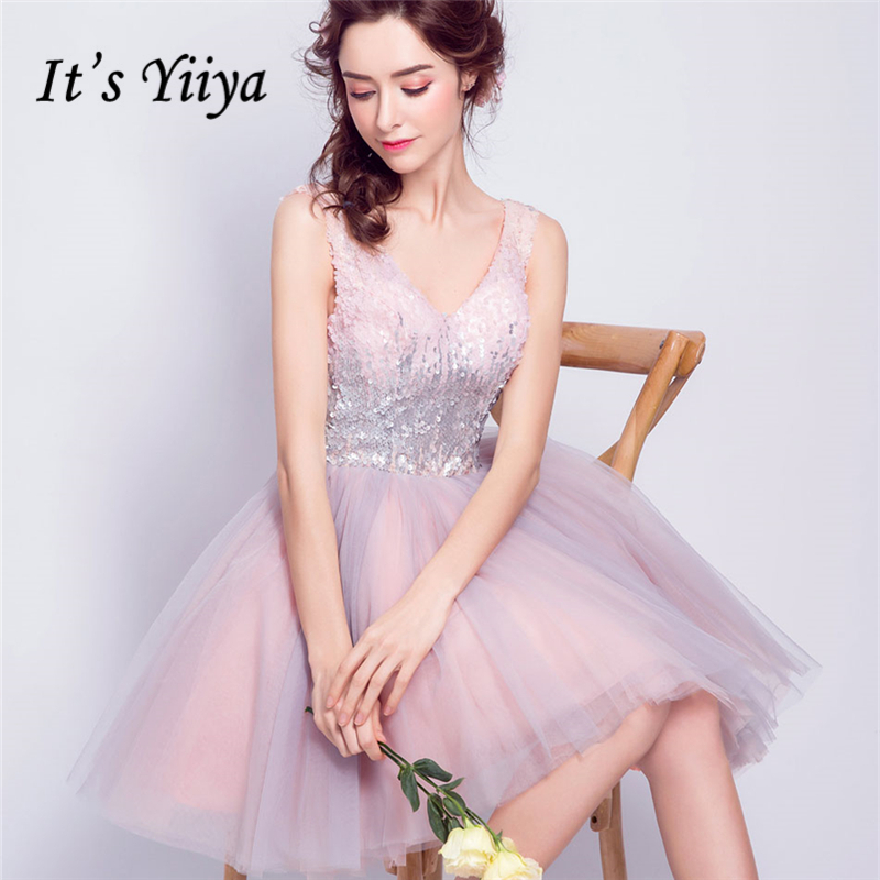 It's YiiYa Pink Bling   Cocktail     Dresses   Sequins Tulle Sex Mini Party Short   Dress   V-neck Above Knee Lace up 2018 New LX825