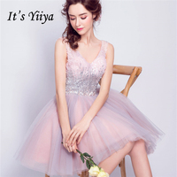 It's YiiYa Pink Bling Cocktail Dresses Sequins Tulle Sex Mini Party Short Dress V neck Above Knee Lace up 2018 New LX825
