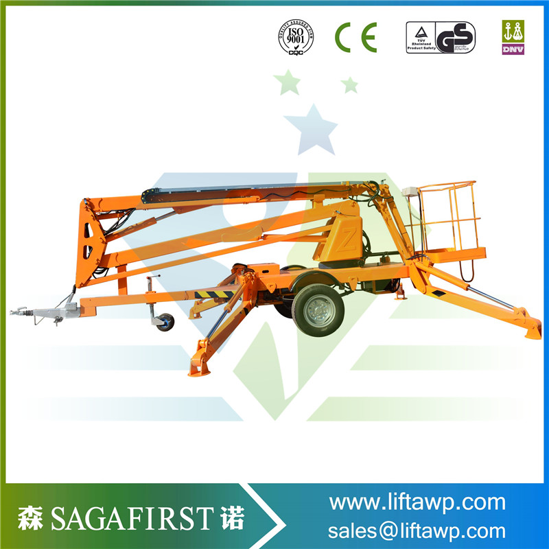 SINOFIRST Towable Trailed Hydraulic Cherry Picker with CE for Hot Sales Good Quality Factiory Price