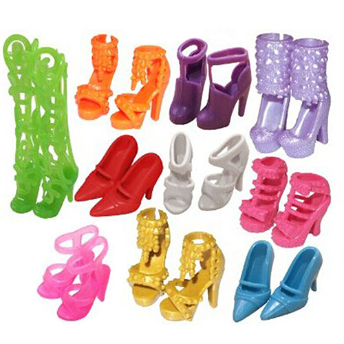 10 Pairs Fashion Assorted Different Shoes Boots for Barbie Doll Girls Toy Gift