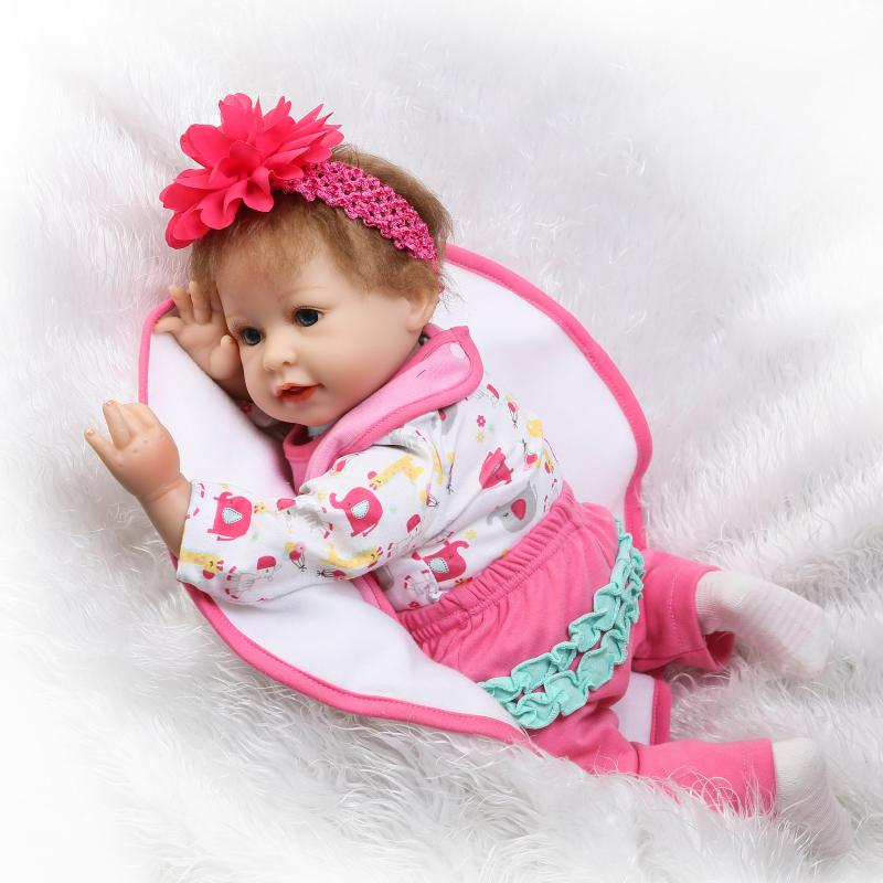 55cm Soft Silicone Reborn Baby Girl Doll Blue Eyes Bebe Baby Doll for Kids Birthday Xmas Gifts Bedtime Early Education Toy new arrival 55cm blue eyes pink clothes lifelike baby soft girl doll with free plush toy as kids xmas gifts birthday doll toys