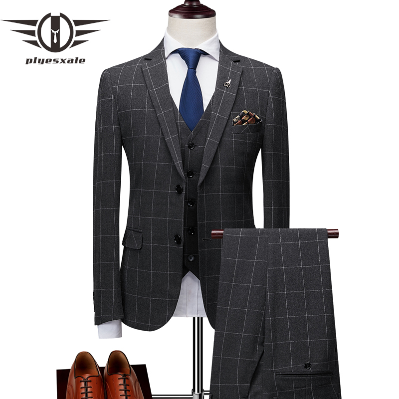 Plyesxale Slim Fit Plaid Suit Men Classic Mens High Fashion Suit Black Grey 3 pcs Groom Wedding Suit Men's Formal Wear Q185