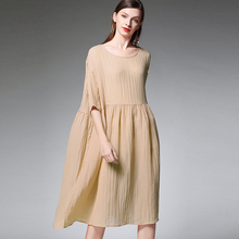 Plus size womens fashion Draped dresses casual loose high waist crew neck two piece Elegant dress Big size Spring summer dress недорого