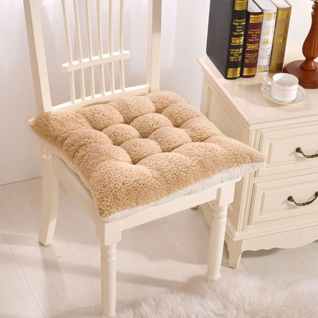 Urijk Comfortable Square Seat Cushion Fluffy Soft Plush Fabric Dining  Office Chair Seat Decorative Pillows Home