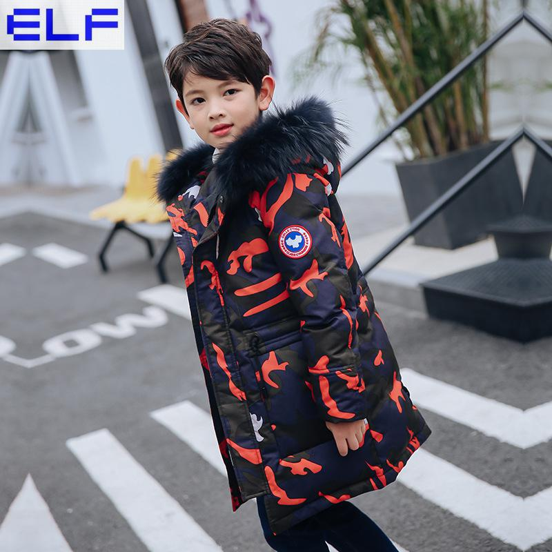 -30Dgree Duck Down Children Winter Jacket Boy Winter Coat Kids Warm Thick Fur Collar Hooded long Camouflage Coats For Teenage children winter jacket long thick duck down coat for boy warm fur collar hooded winter outerwear kid boy winter windproof parkas