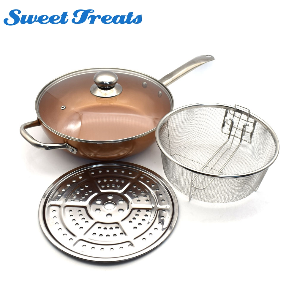 Sweettreats copper Round Pan Induction Chef Glass Lid Fry Basket, Steam Rack 4 Piece Set,12 inches used in induction Сковорода
