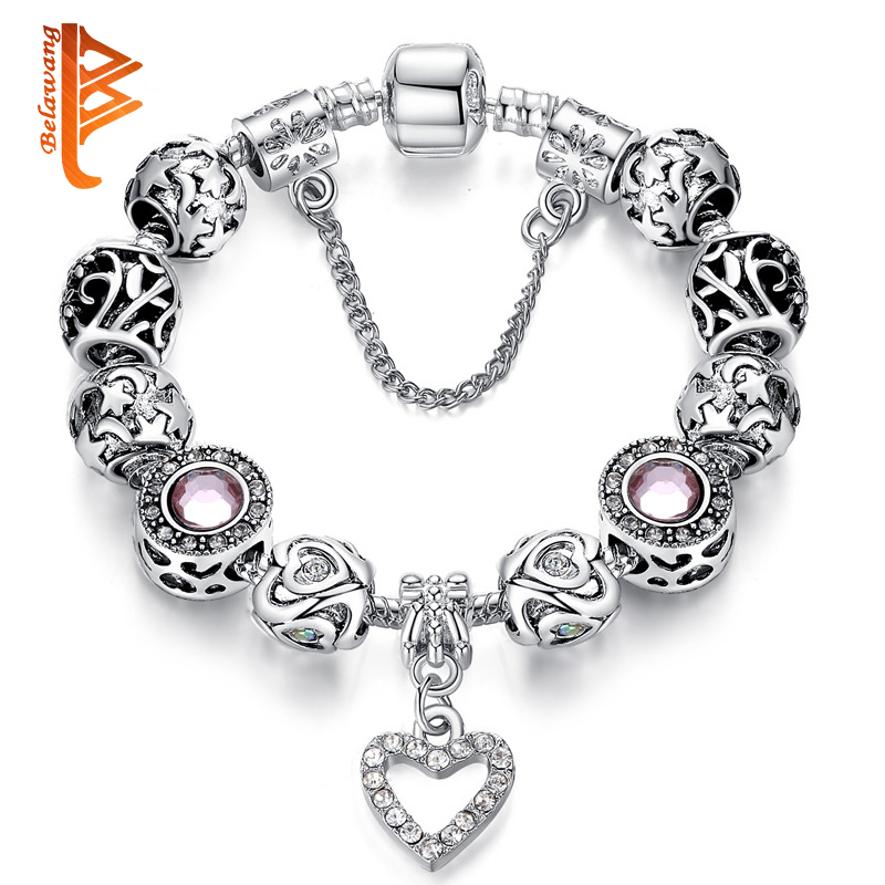 BELAWANG Original Brand Silver Charm Bracelet for Women With Exquisite Crystal Bead Bracelet Safety Clasp Mother's Day Gifts