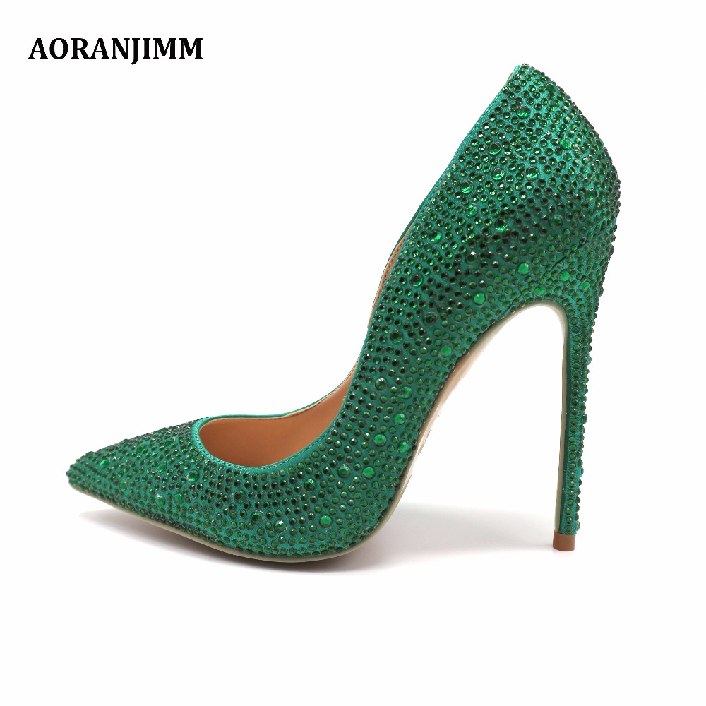 Free Shipping Real Pic AORANJIMM Green Crystal Rhinestone Women Lady Party High Heel Dress Shoes Pump Size 33 34 42 43 44 45