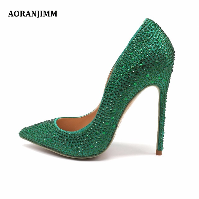4ff8a953095bf3 Free shipping real pic AORANJIMM green crystal rhinestone women lady party  high heel dress shoes pump size 33 34 42 43 44 45