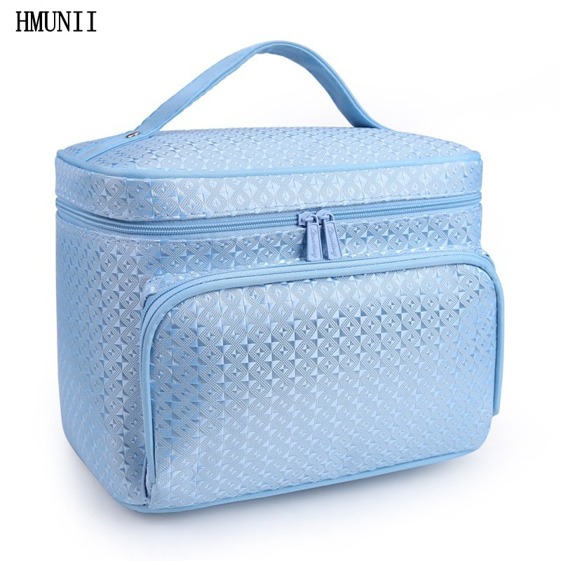 Fashion diamond lattice big cosmetic bags