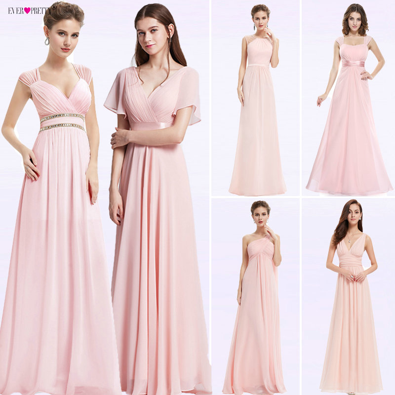Ever Pretty Women Elegant Ladies   Evening     Dresses   Long A-line V-Neck Chiffon Sleeveless Backless Pink Party   Dresses   For Wedding