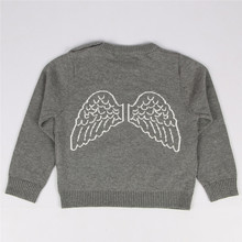 New 2017 spring Baby Girls Cotton Cardigan Lovely Back Angel Wings Sweater Knit Sweaters Toddler Kids Gray Sweater Boys Sweater