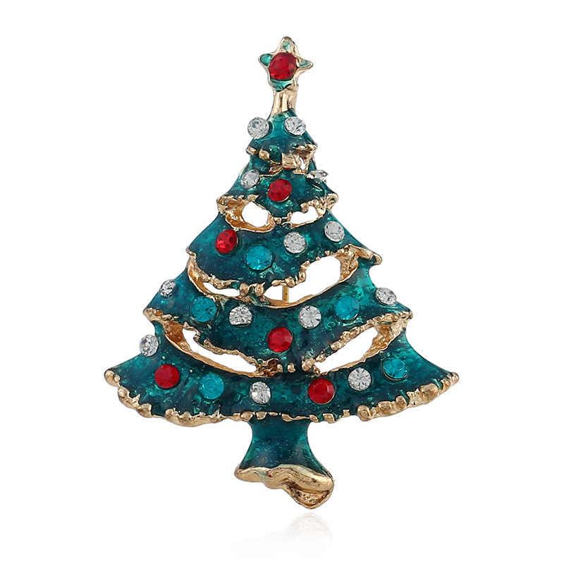 Cindy Xiang Kreatif Biru Cat Pohon Natal Bros untuk Wanita Alloy Perhiasan Hadiah Sweter Mantel Gaun Aksesoris Kasual Pin