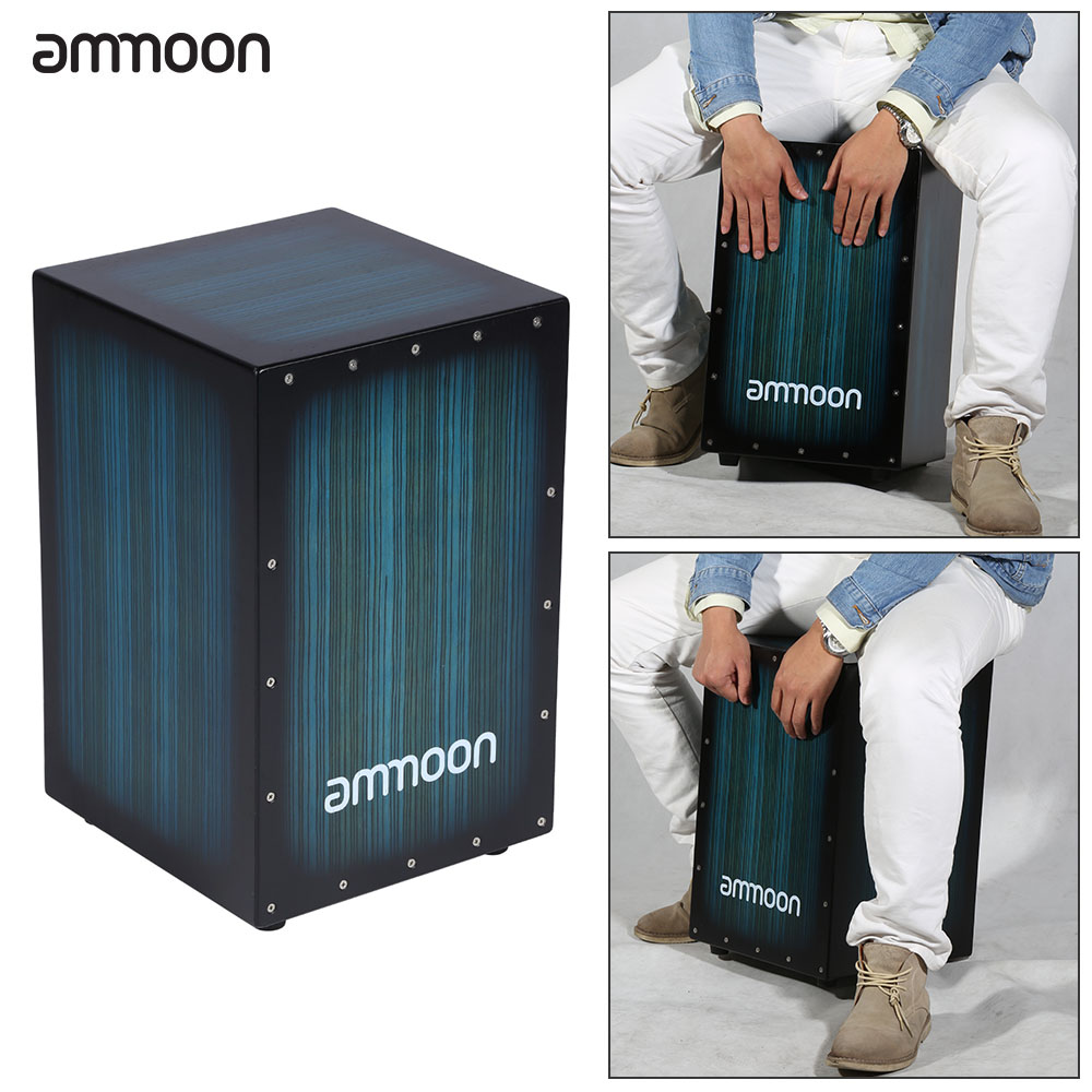Ammoon Wooden Box Drum Cajon Hand Drum Persussion Instrument Woodom With Stings Rubber Feet 30 * 31 * 48cm