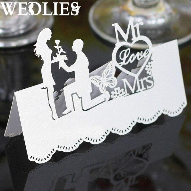 50pcs set laser cut table place cards white paper wedding mr mrs