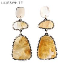 LILIE&WHITE 2017 Multicolor Square Acrylic Dangle Earrings Geometric Drop Earrings for women Boho Earrings Imitation Jewelry HC