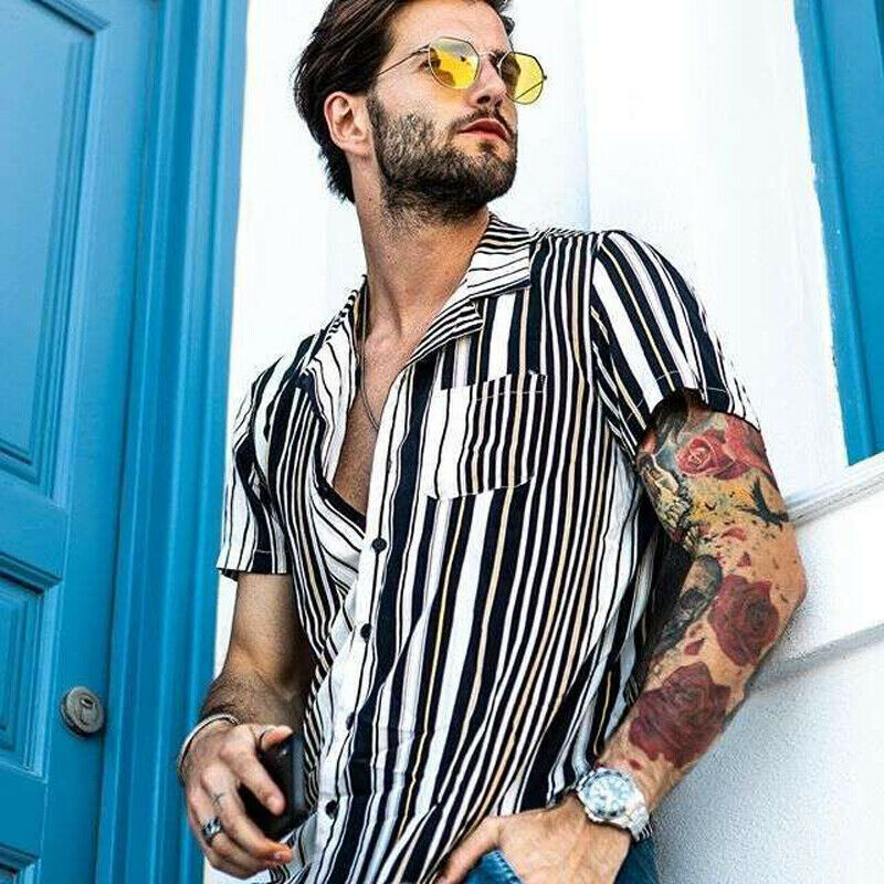 Hot Men Hawaiian Shirt Floral Beach Striped Slim Party Summer Holiday Fancy Top Male Male Short Sleeve Summer Casual Tee