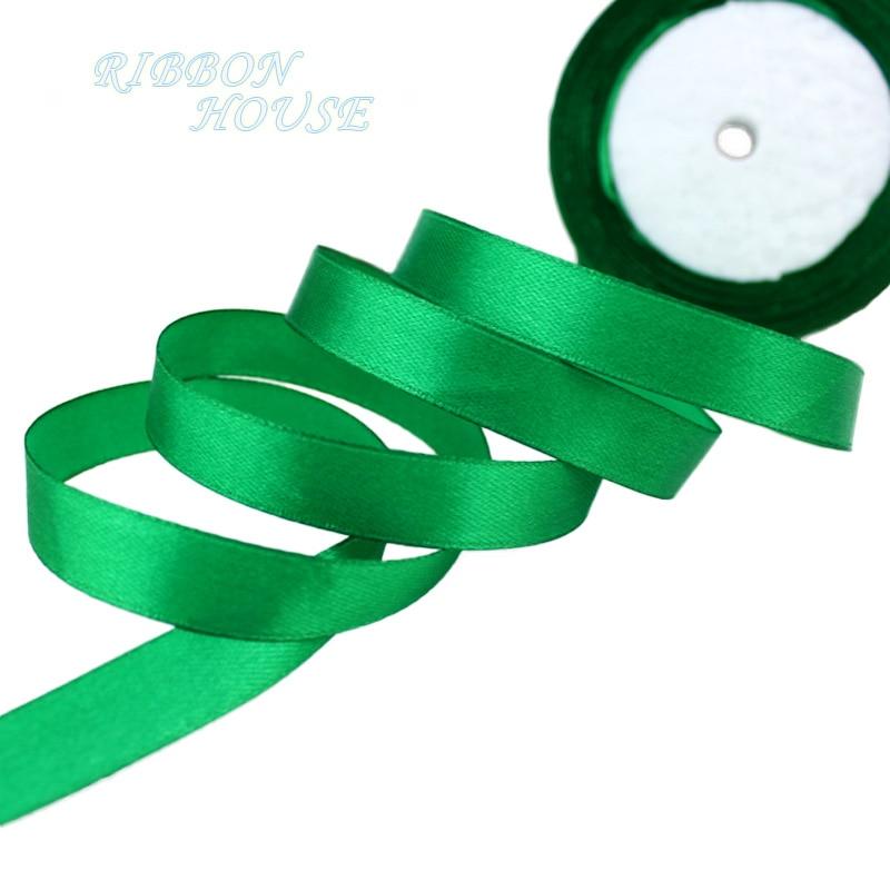 25 ярдов/рулон) атласная лента оптом, подарочная упаковка, рождественские украшения сделай сам, с лентой, с местом для рулон ткани(6/10/12/15/20/25/40 мм - Цвет: Зеленый