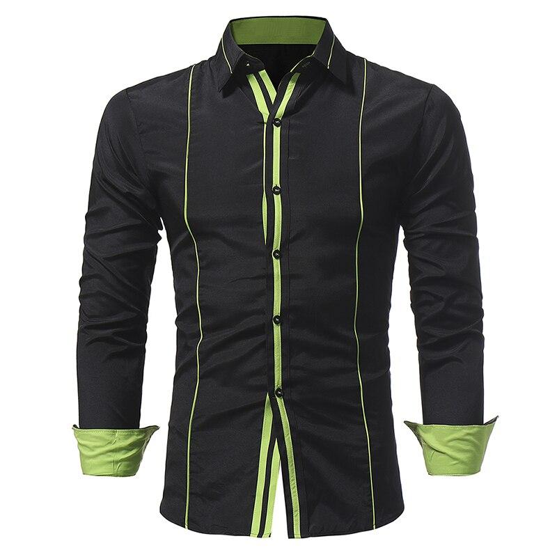 2017 new winter mens casual slim trim personality brace long sleeved shirt