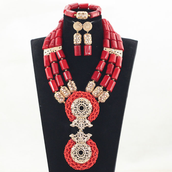 Splendid Red and Gold Nigerian Wedding Coral Beads Jewelry Set Dubai Indian Bridal African Coral Jewelry Sets Original CNR846 цены онлайн