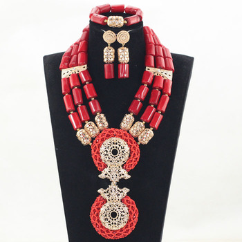 Splendid Red and Gold Nigerian Wedding Coral Beads Jewelry Set Dubai Indian Bridal African Coral Jewelry Sets Original CNR846