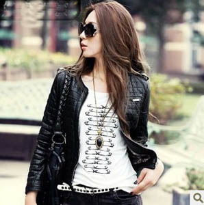 New Autumn Winter (red,khaki,pink,black) Short  PU Leather Jacket Women Zipper Faux Leather Clothing Coats And Jackets For Women