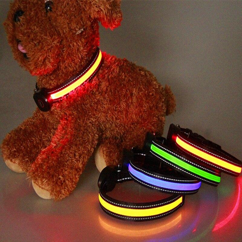 Módní LED světelný pes límec Nylonové materiály dobíjecí Pet límec Různé barvy Pet produktu s USB Peach ve tvaru poplatku  t