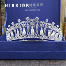 HIBRIDE Luxury Princess Hair Accessories Freshwater Pearl Tiaras Crown Bridal Engagement Gifts C-33