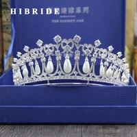 HIBRIDE Luxus Prinzessin Haar Zubehör Süßwasser Perle Tiaras Krone Braut Engagement Geschenke C-33