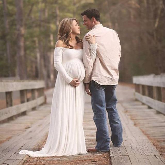 f0d0a75b70a Women White Black Skirt Maternity Photography Props Elegant Pregnancy  Clothes Maternity Dresses pregnant Photo Shoot Clothing