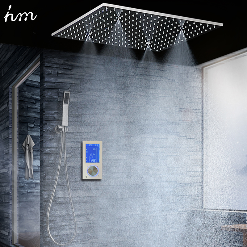 Salle de bains Douche Tête avec 3 Façons Intelligente Numérique Caché Robinet 20 SPA Brouillard Pluie Thermostatique Ensemble Tactile Panneau Mélangeur