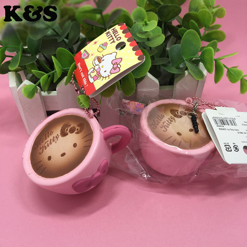 New Squishy Hello Kitty 6cm Cute Coffee Cup Squishies Wholesale 15pc/lot Original Package Tag ...