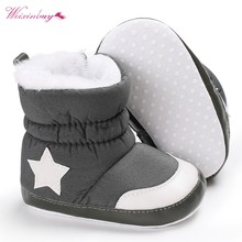 infant Baby Boots Unisex Kids Winter Shoes Crib Bebe Infant Toddler Five Star Pattern Snowfield Snow Boots Booty(China)