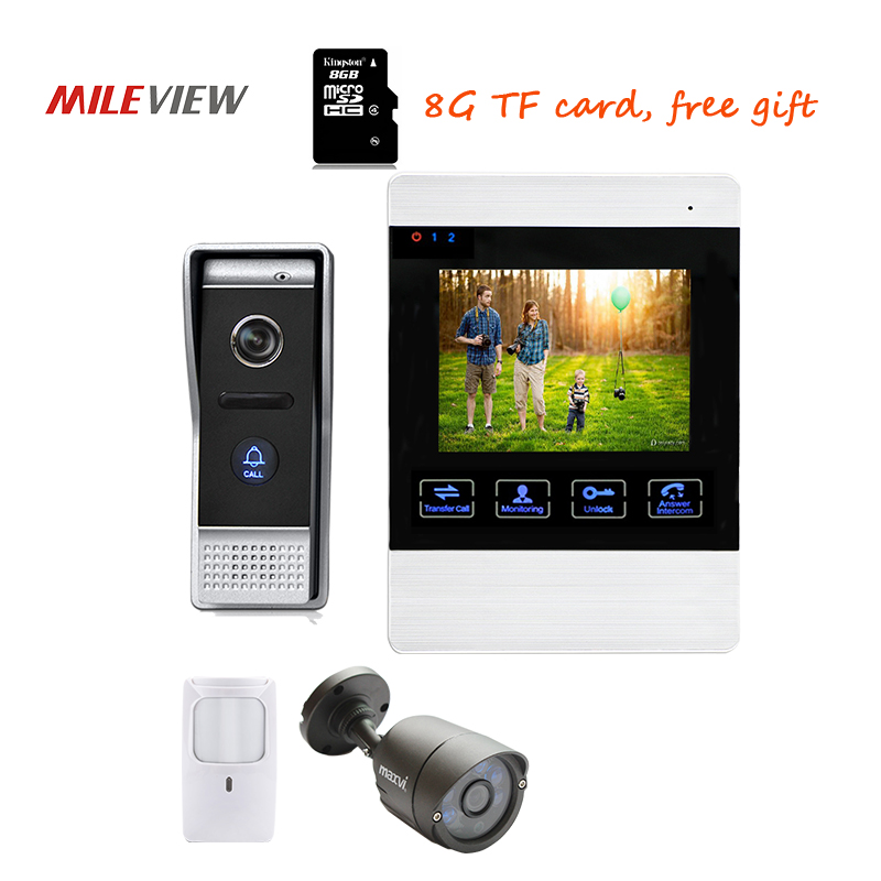 Free Shipping 800TVL 4.3 Screen Video Intercom Door Phone Record Kit 110 Angle Waterproof Door bell Camera + PIR + CCTV Camera