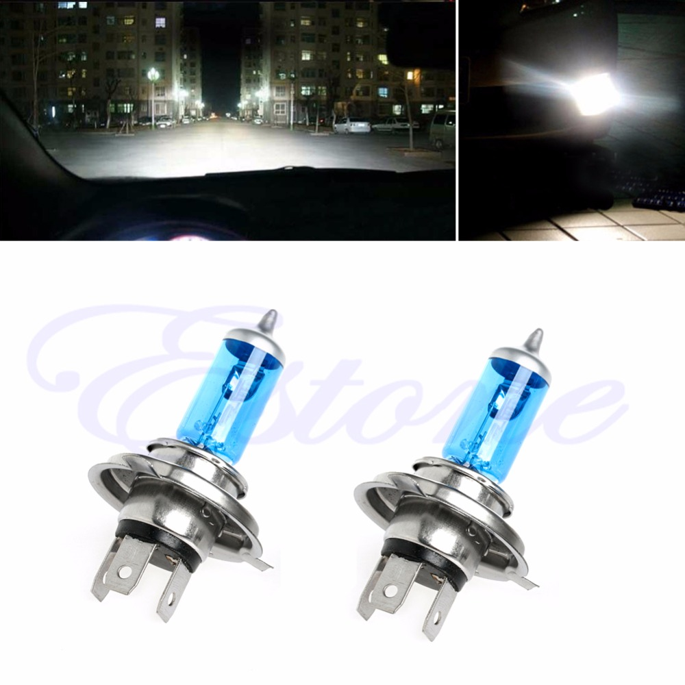 2 шт. H4 100 Вт светящиеся яркие белые автомобильные лампы для фар 12В 5000 К галогенные лампы