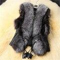 Черный Искусственного Меха Жилет Теплая Зима Меховая Куртка Пальто для Женщин Мода Женский Меховой Жилет