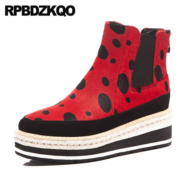 fed507d0d30 Slip On Shoes Red Women Ankle Boots Medium Heel Platform Flatform Wedge  Muffin Horsehair Leopard Print Chelsea Booties Yellow