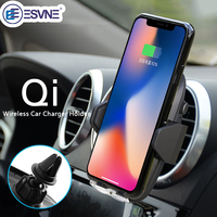 ESVNE Qi wireless charger Air Vent Mobile Car Phone Holder for iPhone 8 Plus X Samsung S8 GALAXY S7 Support cellular Phone Stand