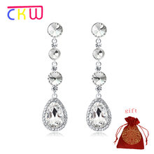 CKW Silver Color Crystal Wedding Long Earrings Droplet shape Chandelier Earrings for Women Brides Bridesmaid Christmas(China)