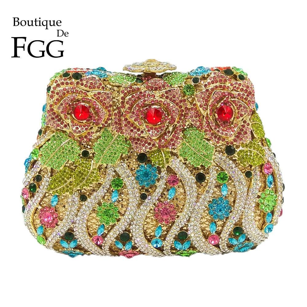 Boutique De FGG Multi Crystal Flower Rose Women Crystal Purse Evening Clutch Bag Bridal Diamond Clutch