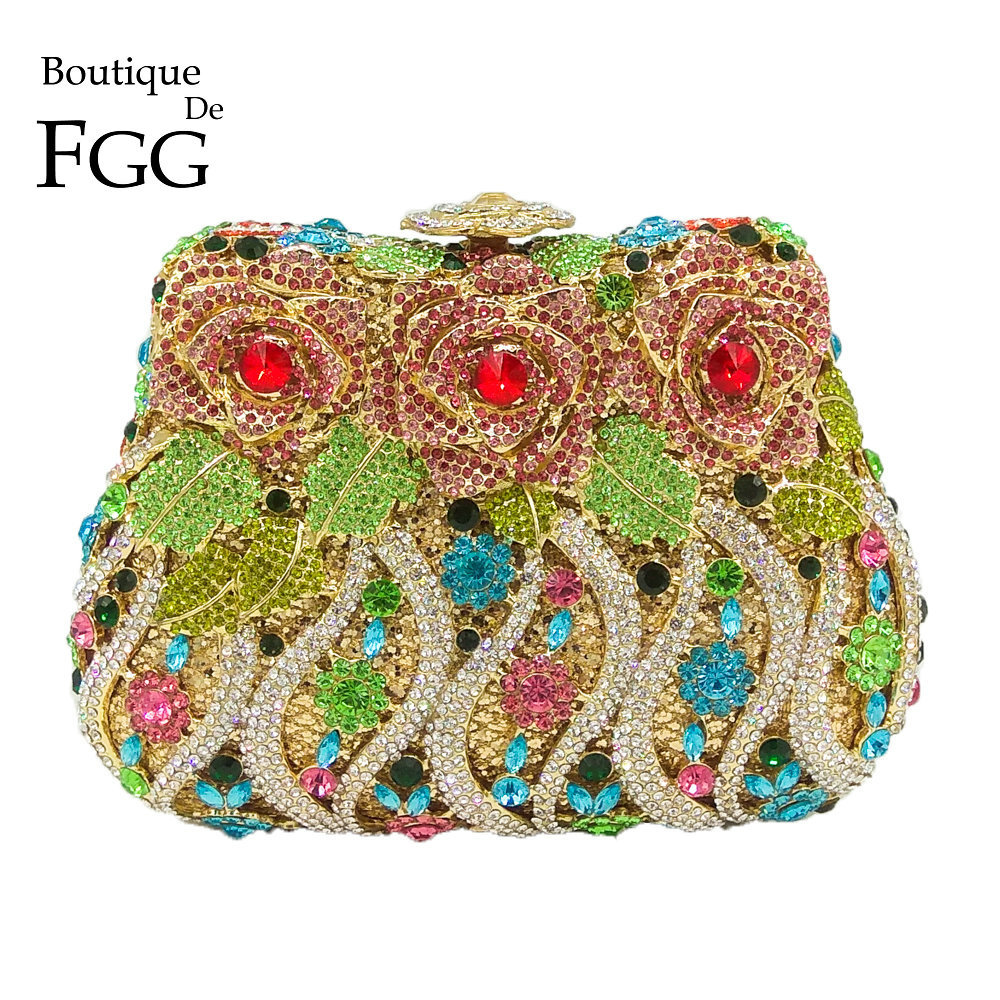 Boutique De FGG Multi Crystal Flower Rose Women Crystal Purse Evening Clutch Bag Bridal Diamond Clutch Wedding Party Minaudiere beautiful rose shape flower ladies bridal wedding party crystal clutch evening bag 8679a g