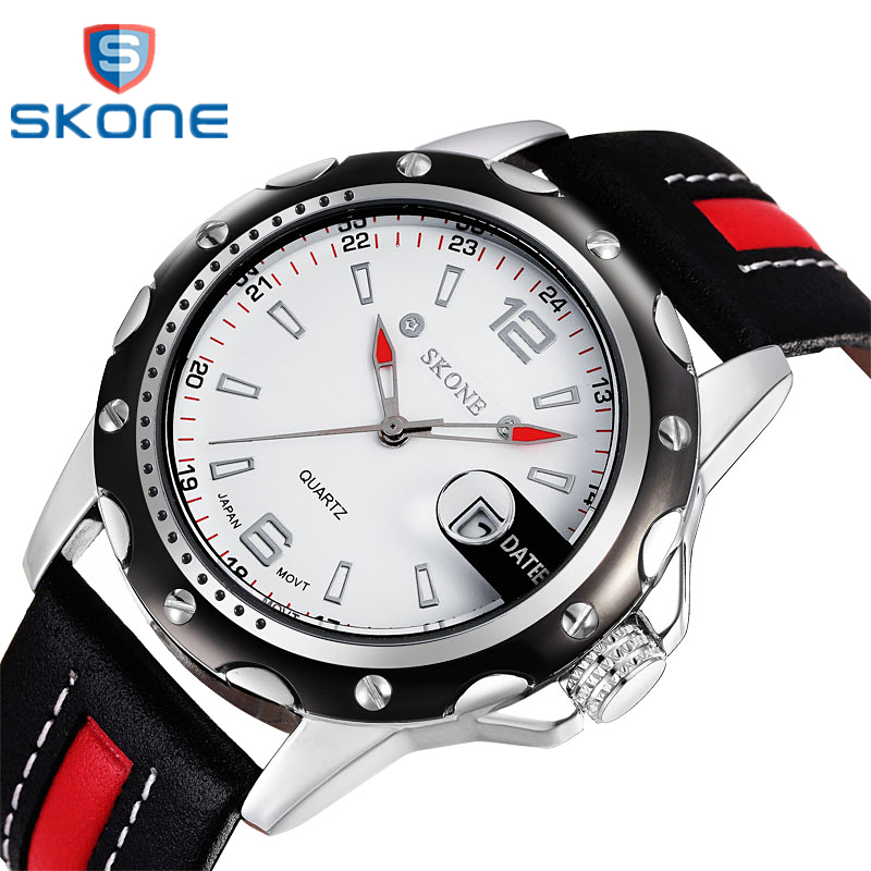 SKONE Brand Men's Business Watch Leather strap Luxury Waterproof Quartz Male Wristwatches Fashion Casual Men Sports Watch Clock 30pcs lot by dhl or fedex dps3005 communication function step down buck voltage converter lcd voltmeter 40