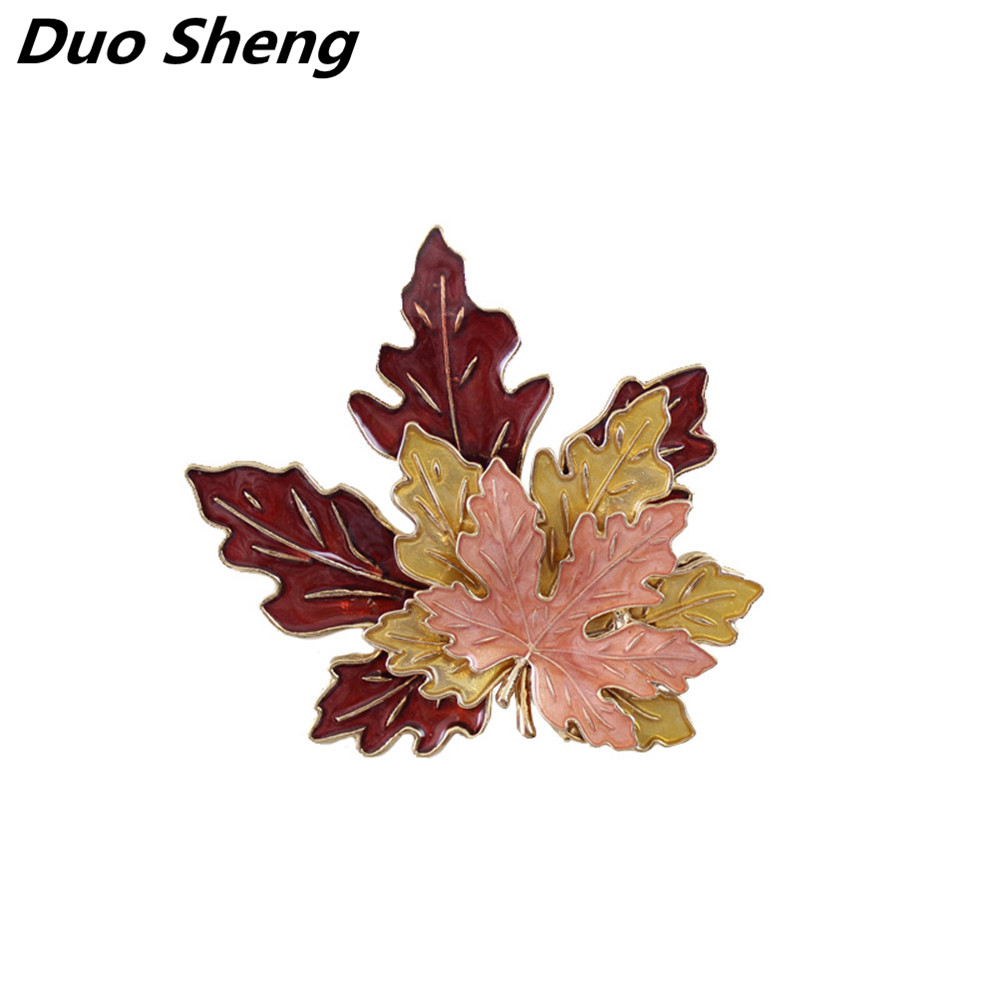 все цены на 2017 New Europe and the United States fashion wind double-color autumn leaves stereo drop glaze maple leaf brooch