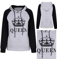 New Hot Sale QUEEN KING English Letter Printing Sweatshirt Fashion Casual Couple Trendy Men and Women Fleece Pullover