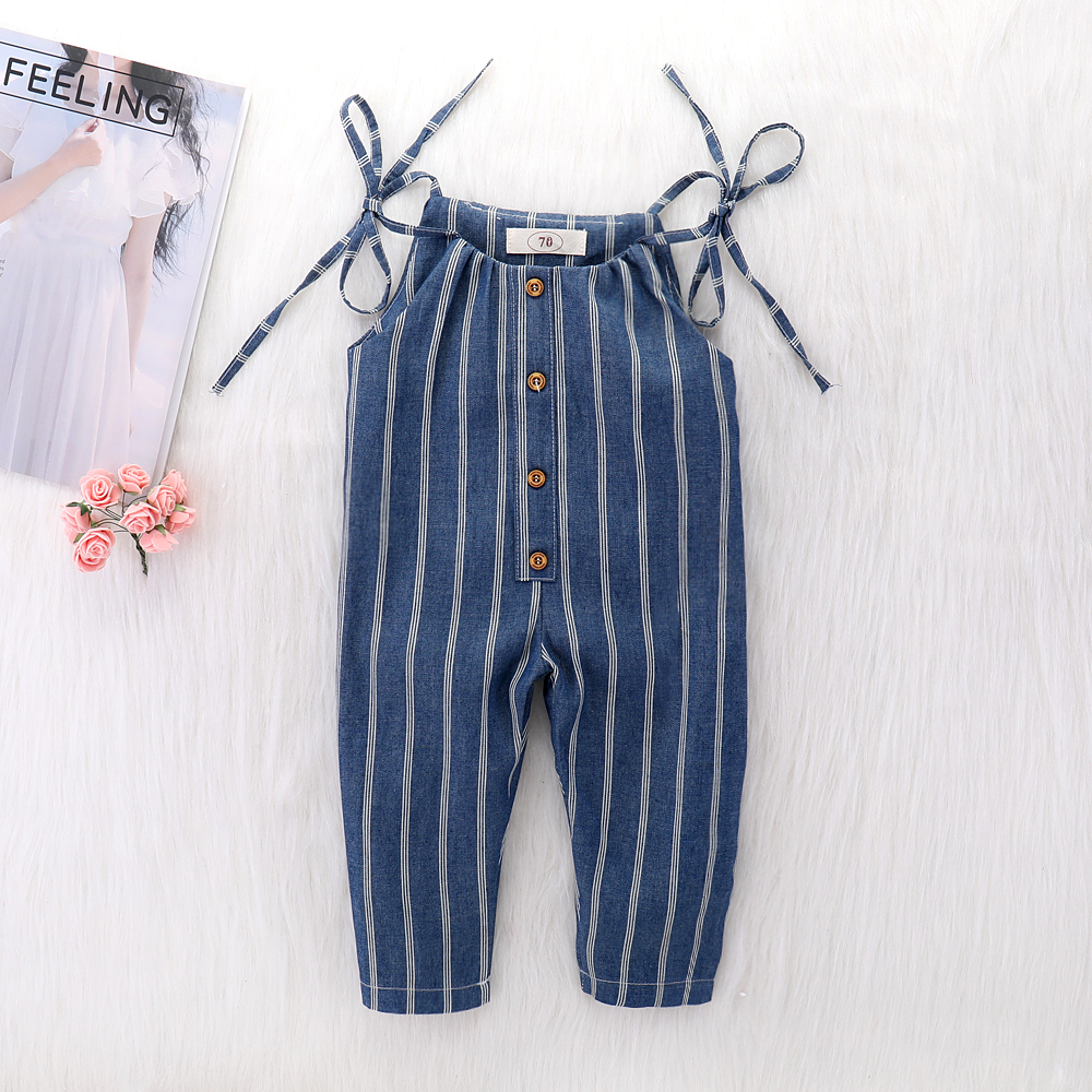 Baby Clothes Girl Summer Strap Rompers White Stripes Print Toddler Long Jumpsuits Navy Blue Infant Kids Sleeveless Overalls 1-4T alfani new navy blue spaghetti strap sleeveless womens size 12 tank cami top $29